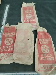 4 Vintage Lawrence Brand Chilled Lead Shot 25lbs 7 1/2 Empty Canvas Bag