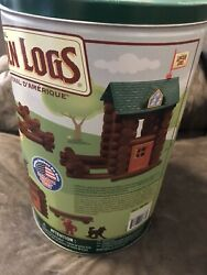 K'nex Lincoln Logs Fort Red Pine 83 Pieces Set Tin Container Wood Building