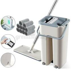 Self Cleaning Drying Wringing Mop Bucket System Flat Floor + Microfiber Pads Usa