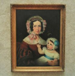 19th C. Portrait Painting Mother And Child Oil On Canvas Antique American Folk Art