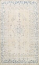 Muted Semi Antique Traditional Floral Hand-knotted Area Rug Distressed Wool 8x11