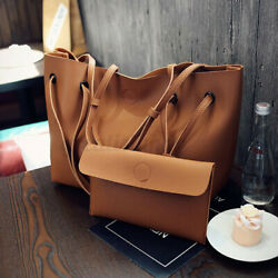 2PCS Women Leather Handbag Shoulder Bag Messenger Crossbody Satchel Purse Tote $15.00