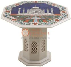24 Marble Counter Table Taj Mahal Lapis Inlaid Floral Traditional Veterans Gift