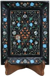 12x9 Black Serving Tray Inlaid Precious Marqutery Fine Floral Veterans Gifts