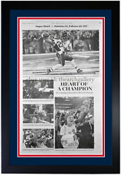 New England Patriots 2017 Super Bowl Heart Of A Champion Newspaper Framed 2/6