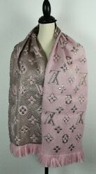 NEW LV Wool Logomania Shine Scarf 100% Authentic M70466 Louis Vuitton PINK GOLD $69.99