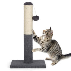 22quot; Cat Scratching Post Kitty Interactive Sisal Scratcher with Hanging Ball Toy