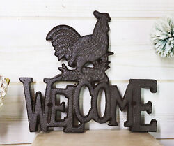 Rustic Country Farm Rooster Chicken Welcome Sign Wall Decor Cutout Plaque 7quot;H