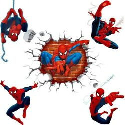 3D Spiderman Wall Stickers For Kids Rooms Decor Cartoon Decoration Mural Art