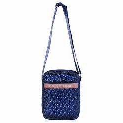 Trust In The Lord Navy Blue Large Print Quilted Polyester Bible Cover Tote Bag