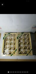 30 Vintage Pyramid Rauch Ind. Jumbo Classic Gold Glass Christmas Ornaments Usa