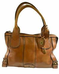 FOSSIL Long Live Vintage Handbag TAN natural Leather Satchel Purse tote Key $42.00