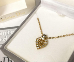 Christian Dior Necklace Heart Rhinestone Pendant Logo Gold By Dhl
