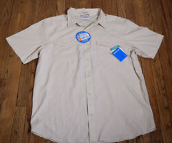 Columbia Mens Vented Omni Wick Creme Color Short Sleeve Shirt Size XL NWT