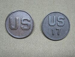 Two Pin-back Enlisted Collar Disks- 17th Field Artillery/ 2nd Div.