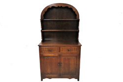 Antique English Welsh Cupboard Cabinet Or Dresser With Arched Plate Rack Topper