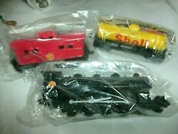 Fletcher, Barnhart And White Shell Ho Scale Train Cars, Engine, Caboose, Tanker