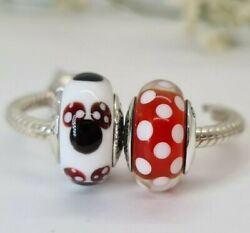 Authentic Pandora Disney Minnie Mouse And Polka Dots Murano Glass Charms