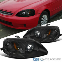 For 99-00 Honda Civic 2/3/4dr Matte Black Projector Headlights Lamps Left+right