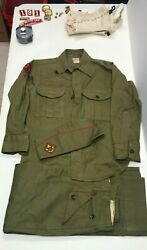 Vintage Boy Scouts Of America 5 Pc Uniform With Pins And Patches 28 Pcs Total