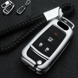 Zinc Alloy Flip Car Smart Key Fob Chain Case Cover For Chevrolet Gmc Buick Chevy