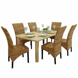 Dining Chairs 6 Pcs Abaca And Solid Mango Wood