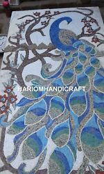 5and039x3and039 Marble Dining Table Top Mosaic Peacock Inlaid Collectible Rare Decor E377