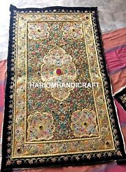 Indian Embroidered Zardozi Wall Hanged Jewel Tapestry With Precious Stones M106