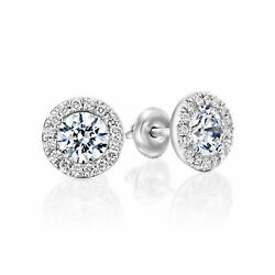 2.02 Ct F/si1 Womenand039s Round Cut Diamond Stud Earrings 14k White Gold