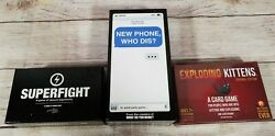 3 Card Game Bundle - Exploding Kittens - Superfight - New Phone Who Dis