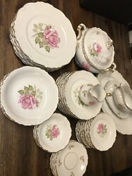 51 Piece Set Of Edelstein Bavaria Maria Theresia Made In Germany Franconia Rose