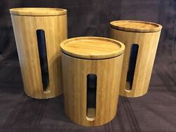 Set Of 3 Graduated Sizes Crate And Barrel Bamboo Kitchen Canisters Light Wood