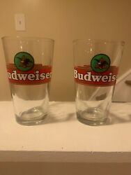 Vintage Pair Of Budweiser Beer Pint Glasses rare Official Product