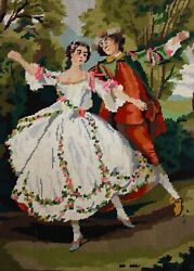 Finished Paris Tapestry Needlepoint Victorian Couple Completed 20x 25 France