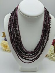 Jay King Mine Finds Garnet 7-strand Waterfall Necklace 18-21 Sterling Silver 925