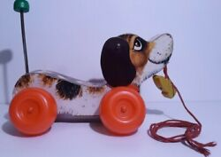 Vintage 1969 Fisher Price Littlesnoopy Dog Pull Toy Puppy Great Sound And Color