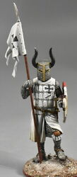Lead Toy Soldier 54mm. Teutonic Knight With A Small Flag On Spear - Xiii C