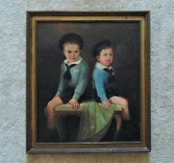Large Antique Portrait Oil Painting Of 2 Boys Brothers Children In Sailor Navy