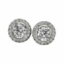 3 Carat Solitaire Diamond Stud Earrings Round Cut F/si1 14k White Gold
