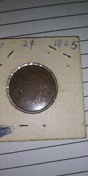 1865 2c Two Cent Piece Anacs Au50 Plain 5 Variety Rare Old Type Coin Money