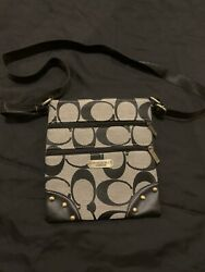 Coach Crossbody Bag Signature Collection Gray C 3 Pocket Pouch Used $30.00