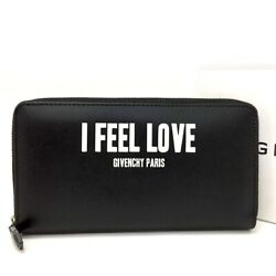 New Givenchy I Feel Love Black Leather Zip Around Long Wallet/3689