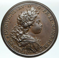 1720 France King Louis Xv And Duke Philip Of Orleans Antique French Medal I87413