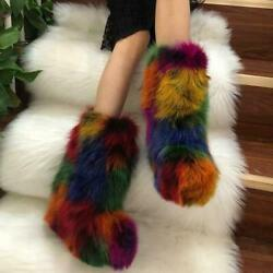 European Womens 100 Whole Real Fox Fur Snow Boots Outdoor Furry Shoes Winter Sz