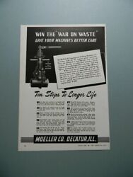 1945 Mueller Tapping And Drilling Machines Win The 'war On Waste' Sales Art Ad