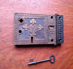 Antique Ornate Fancy Rande Rim Or Box Lock Working With Key And Keeper C1885