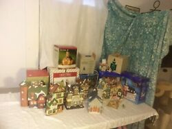 55 Piece Christmas Village Houses And Accessories