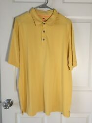 Tommy Bahama:Short Sleeve 3 Button Knit Shirt YELLOW: Men#x27;s LARGE $15.60