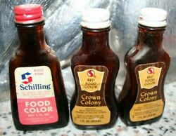 Lot Vintage 3 Glass Bottles Of Food Color From Crown Colony And Schilling Spices