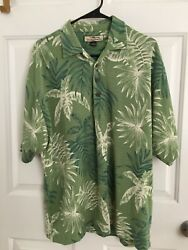 Tommy Bahama: Short Sleeve 3 Button Knit Shirt: GREEN WHITE FLORAL: Men LARGE $15.60